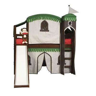 Bolton Furniture Mission Twin Low Loft Bed with Built-In Ladder and Tent