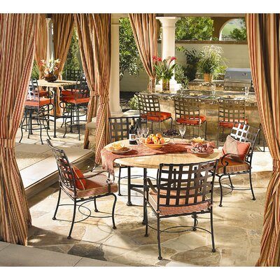OW Lee Hacienda Cast Aluminum Table with Umbrella Hole Dining Set