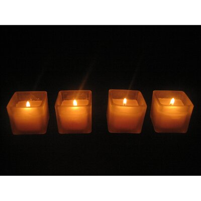 Light In the Dark Votive Candles with Square Holders (Set of 24)