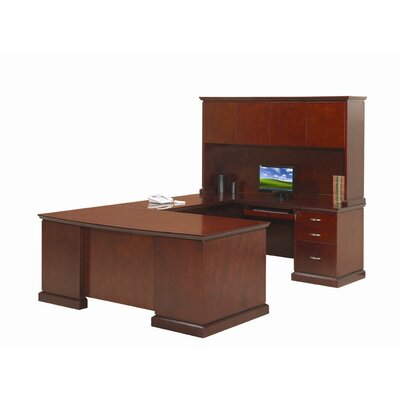 Absolute Office Devon U-Shaped Executive Desk with Right Return and Hutch