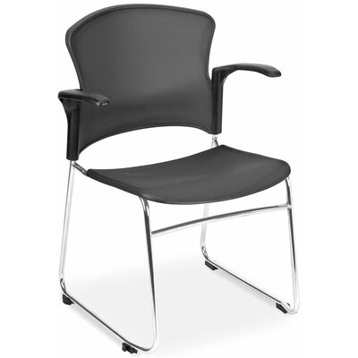 OFM Multi Use Plastic Seat and Back Stacker Chair with Arm