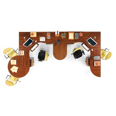 "OFM 72"" x 24"" L-shaped Workstation with Round Table/Telephone Stand Suite"