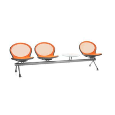 OFM Net Series Mesh Three Chair Beam Seating with Table