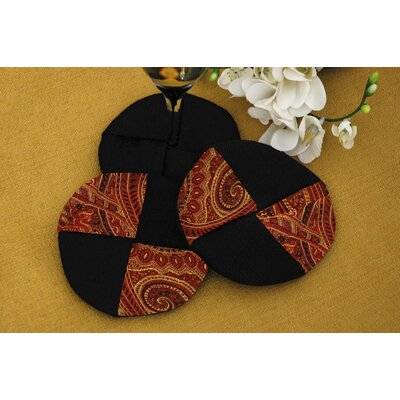 Pacific Table Linens Prema Silk Paisley Wine Glass Coasters (Set of 2)