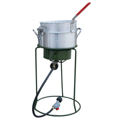 Sportsman Single Basket Outdoor Cooker and Fryer with Single Burner