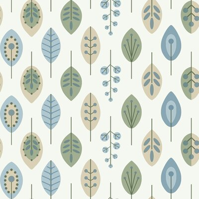 York Wallcoverings Bistro 750 Retro Leaves Prepasted Wallpaper