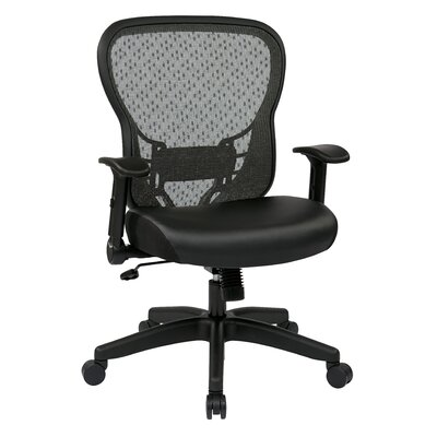 "Office Star Products Space 28"" Back Chair with Eco Leather Seat and Flip Arms"