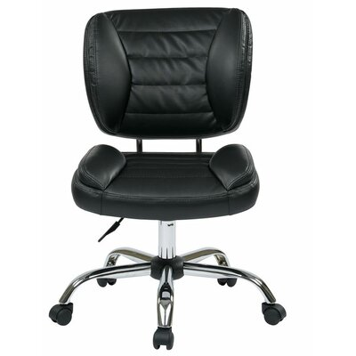 Faux Leather Armless Task Chair with Chrome Accents