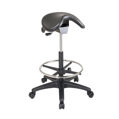 Office Star Products Height Adjustable Backless Stool with Saddle Seat