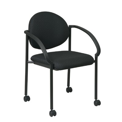 Office Star Products 13Stack Chair with Casters and Arm (Black Frame) (special order)