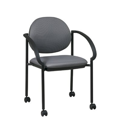 Office Star Products 13Stack Chair with Casters and Arm (Black Frame)