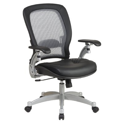 Office Star Products SPACE Air Grid Executive Leather Office Chair with Arms