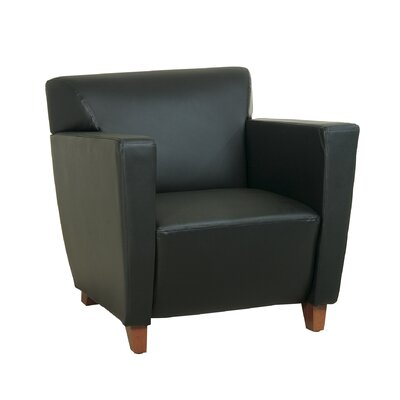 Office Star Products Leather Lounge Chair with Wood Legs