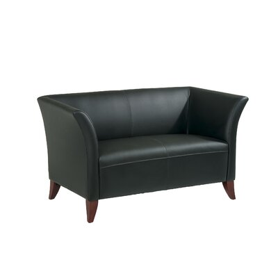 Office Star Products Leather Love Seat with Open Wing