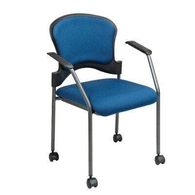 Office Star Titanium Finish Stacking Visitors Chair With Arms And