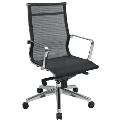 Office Star Products Deluxe Mesh Back and Seat Mid-Back Office Chair with Polished Aluminum Arms and Base