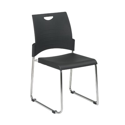Office Star Products Sled Base Stack Chair with Plastic Seat and Back, Black, 4 Pack