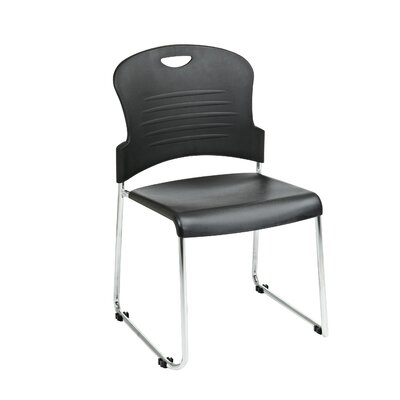 Office Star Products Black Stack Chair with Sled Base with Plastic Seat and Back, Black, 2 Pack
