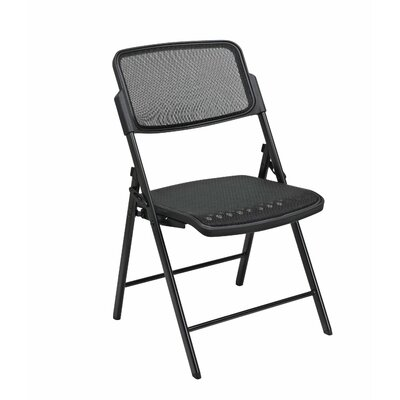Office Star Products Deluxe Folding Chair With ProGrid Seat and Back (2-Pack), Gangable, Beige, Black or Silver