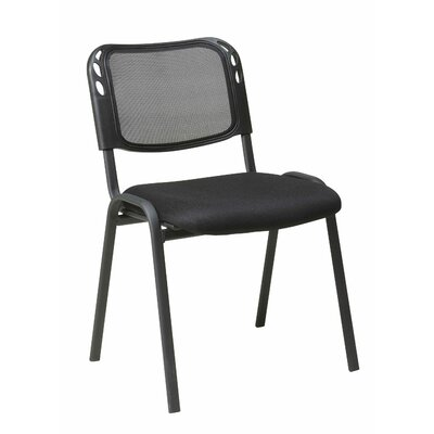 Office Star Products Work Smart Armless Stacking Chair in Black (Set of 2)