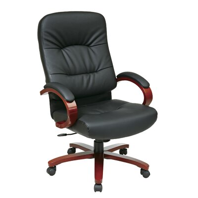 Office Star Products Leather Office Chair with Wood Base