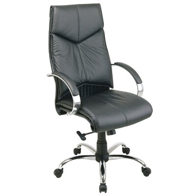 Office Star Products Deluxe High-Back Executive Leather Office Chair with Arms