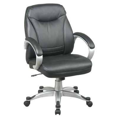 Office Star Products Back Leather Faux DeluxeOffice Chair with Coated Frame and Padded Arms