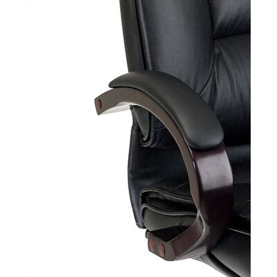 Office Star Products Deluxe Mid-Back Leather Executive Chair with Arms