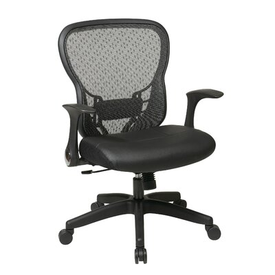 Office Star Products Deluxe R2 SpaceGrid® Back Leather Seat Chair with Flip Arms and Nylon Base