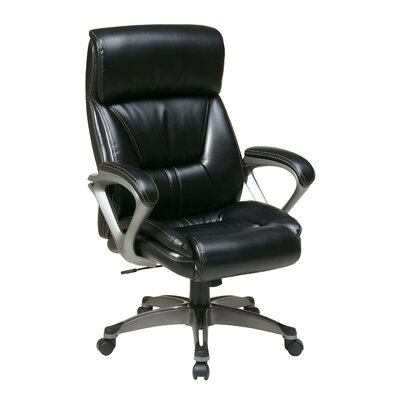 "Office Star Products 28"" Executive Eco Leather Chair with Spring Seat and Padded Arms and Base"