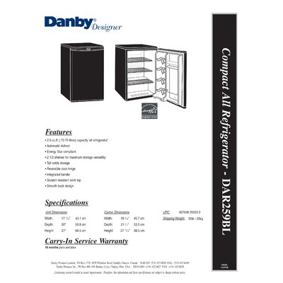 Danby Designer 2.5 Cubic Foot Compact All Refrigerator in Black