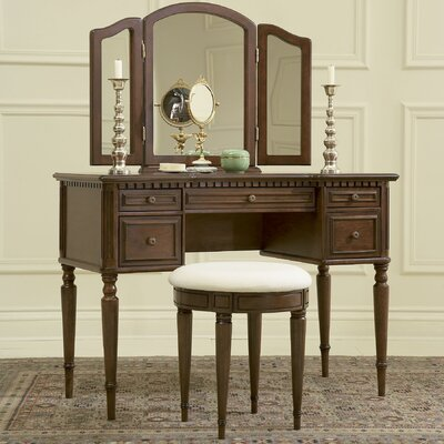 Powell Furniture Warm Cherry Vanity Set with Mirror