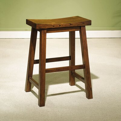 "Powell Furniture Honey Brown 24"" Saddleseat Counter Stool"
