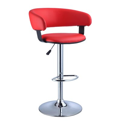 Powell Faux Leather Adjustable Height Bar Stool in Red
