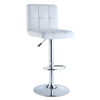 Powell Quilted Faux Leather Adjustable Height Bar Stool in White