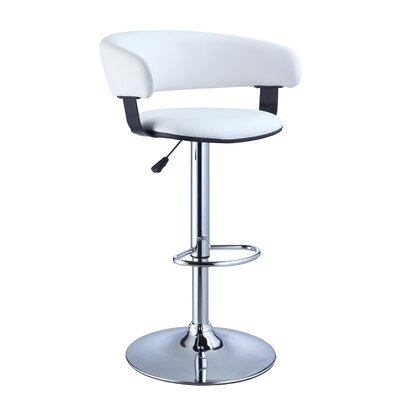 Faux Leather Adjustable Height Bar Stool in White