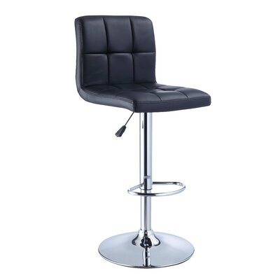 Quilted Faux Leather Adjustable Height Bar Stool in Black
