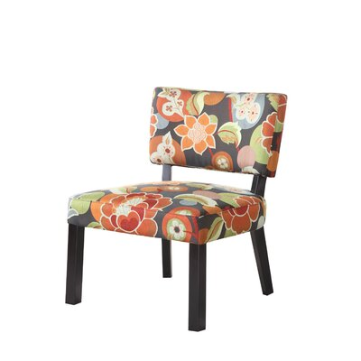 Powell Furniture Bright Floral Print Fabric Slipper Chair