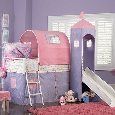 powell princess twin castle loft bed and slide with tent and slide reviews wayfair. Black Bedroom Furniture Sets. Home Design Ideas