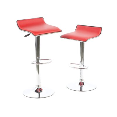 Faux Leather Thin Seat Adjustable Height Bar Stool in Red