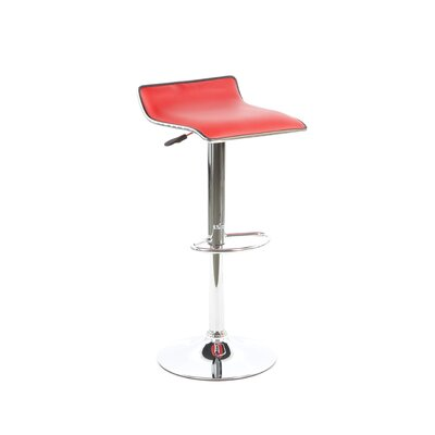 Powell Furniture Faux Leather Thin Seat Adjustable Height Bar Stool in Red