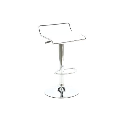 Powell Furniture Faux Leather Thin Seat Adjustable Height Bar Stool in White