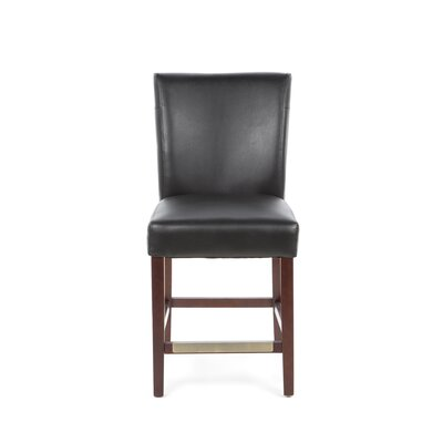 Powell Furniture Cafe Bonded Leather Counter Stool in Black