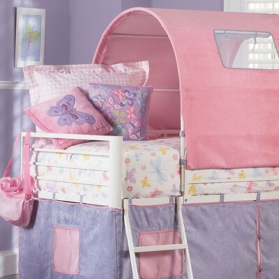 Princess Twin Castle Loft Bed and Slide with Tent and Slide for ...