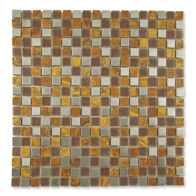 "Diamond Tech Tiles Impact 12"" x 12"" Glass, Tile, and Metal Mosaic in Parchment Metal"