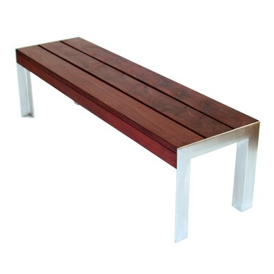 Modern Outdoor Etra Large Wood and Stainless Steel Picnic Bench