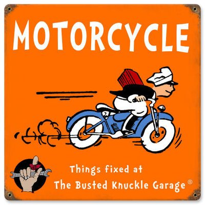 Almost There Busted Knuckle Garage Kid's Motorcycle Sign