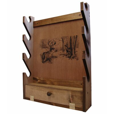 Evans Sports 4 Gun Wooden Rack with Deer Print