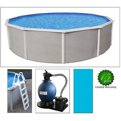 Swim time round 48 deep 6 top rail belize metal wall swimming pool package reviews wayfair for Deep above ground swimming pools