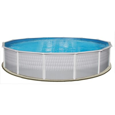 Swim Time Belize 24' Round Above Ground Pool Package in Highland Gray